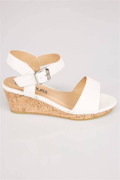high cork wedge sandals white comfort insole high cork wedge sandal in eee fit