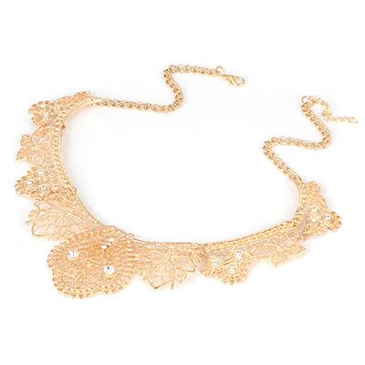 Kalung Korea Choker Pendant Decorated Hollw Out Weaving fingerprin gold color exquisite hollow out design alloy bib necklaces asujewelry