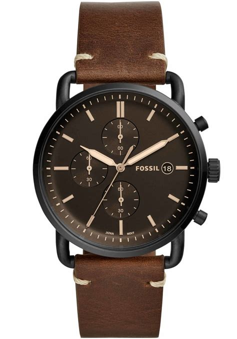 Fossil Chrono Black fossil fs5403 commuter chrono leather black brown