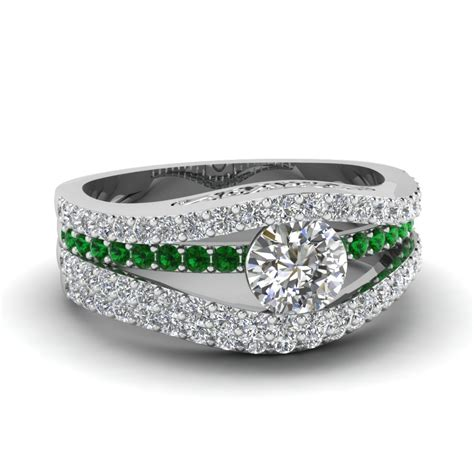 tension set crossover diamond wedding ring set with