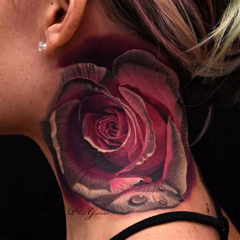 red and white rose tattoo pink white on neck best design ideas