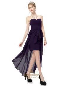dark purple high low prom dress purple sweetheart neckline