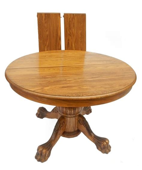 oak pedestal extension table claw foot dining