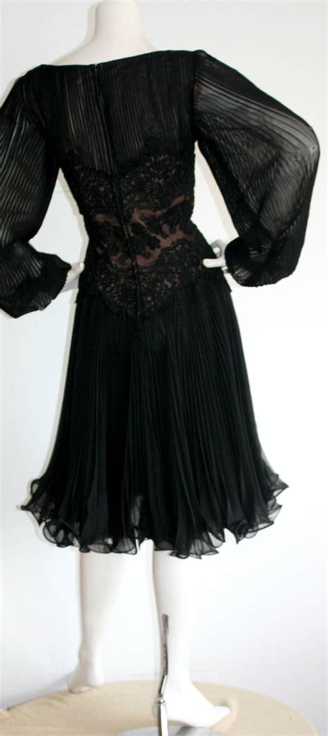 Sale 20172 Black Chiffon Retro vintage travilla lace illusion bodice silk chiffon flowy
