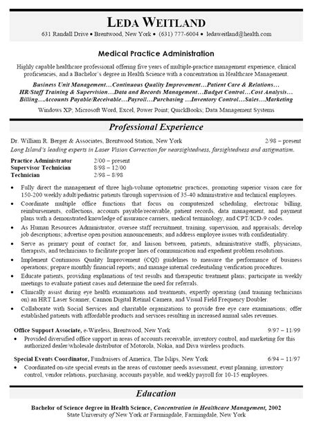 Job Resume Words by Resume Sample For Medical Practice Administrator