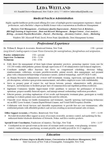 Resume Sample for Medical Practice Administrator