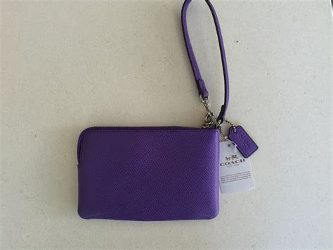 Coach Crossgrain Corner Zip Small Wristlet Purple Origi Berkualitas coach purple iris grossgrain pebbled leather corner zip