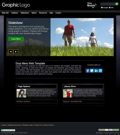 web design and advertising website template 52537 web template ourearth black with integrated mobile website