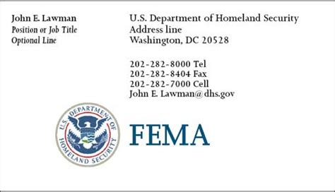 Fema Business Card Template by Dhs Business Card Template Best Business Cards