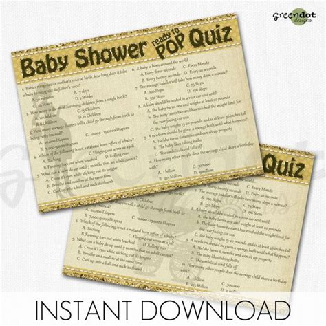 Ready Instan Yellow instant ready to pop baby shower card baby shower quiz printable cards