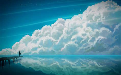 wallpaper blue anime blue anime sky wallpaper