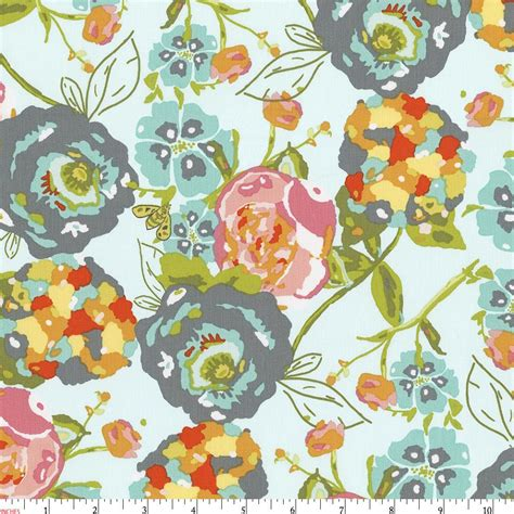 teal flower garden fabric by the yard pink fabric carousel designs