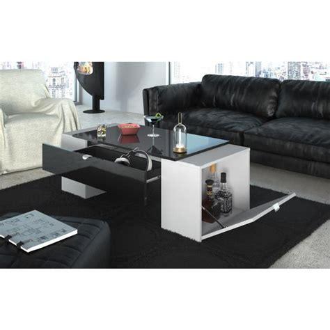 table basse et haute lucky table basse 123 cm noir et blanc haute brillance achat vente table basse lucky table