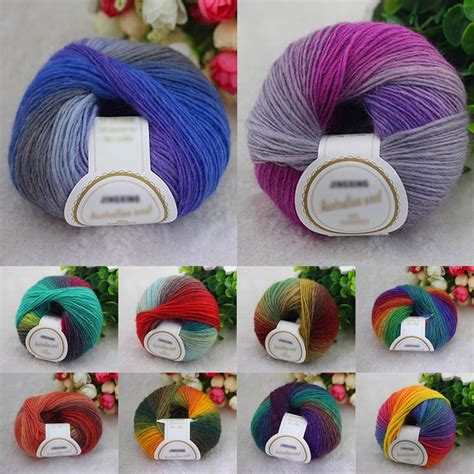 how to knit with two colors of yarn 10 colors soft acrylic crochet cotton 50g knitting yarn