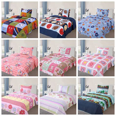 twin size quilts and comforters 2 pcs kids bedspread quilts set for boys girls bed printed