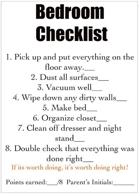 chores cleaning checklist for each room for for