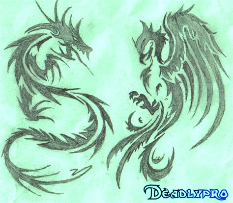 tribal dragon and phoenix tattoos real photo pictures