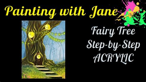 fairy tree step  step acrylic painting  canvas