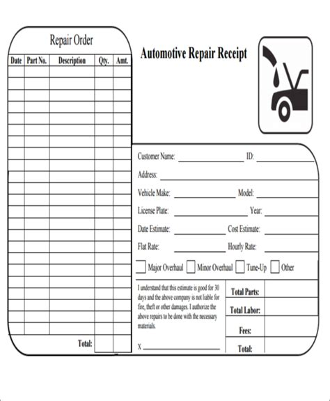 mechanic receipt template free 6 repair receipt templates free sle exle format