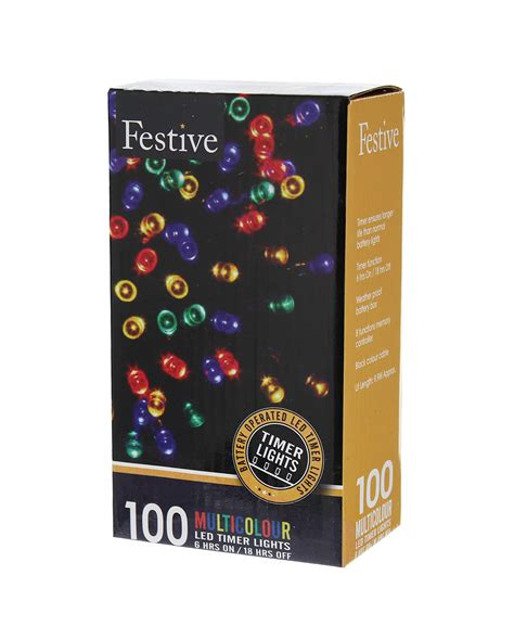 galleon festive string lights battery operated timer led multicolor 100 bulbs