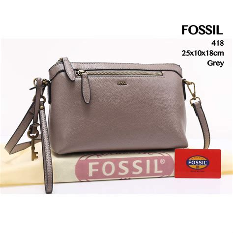 Tas Fossil Easy Crossbody Leather Abu Abu At418 collectionbatam tas fossil easy bag crossbody togo abu abu semi premium