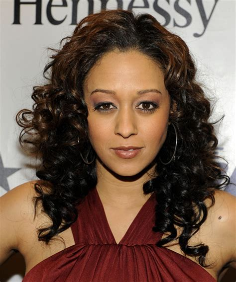 Tia Mowry Long Curly Formal Hairstyle   Black