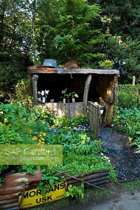 vegetable garden silver gap gardens rustic wooden shelter in vegetable garden
