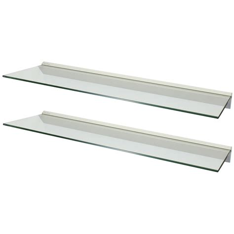 Clear Shelf by Hartleys Pair 2x 100cm Clear Floating Glass Wall Shelves