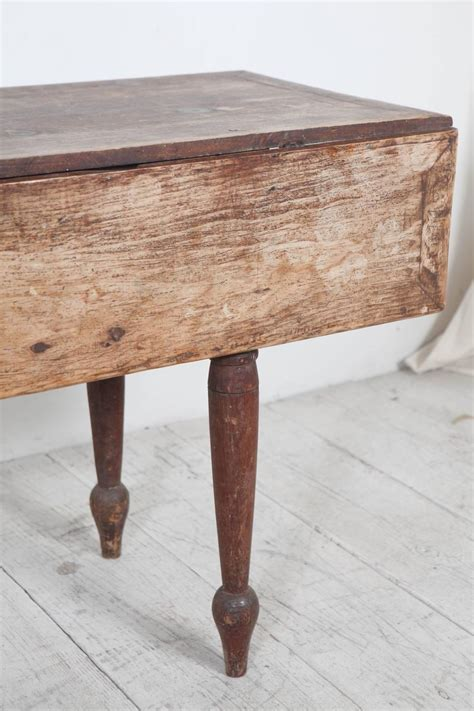 Wooden Drop Leaf Table Rustic Drop Leaf Wooden Table With Turned Legs At 1stdibs