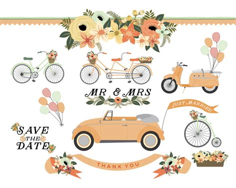 wedding car clipart wedding car bicycle tandem scooter and vintage bike floral