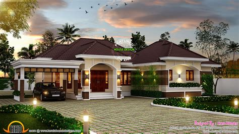 Single Story House Plan by Outstanding Bungalow In Kerala Kerala Home Design And