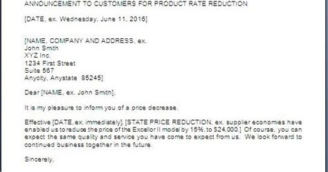 price decrease letter to customers
