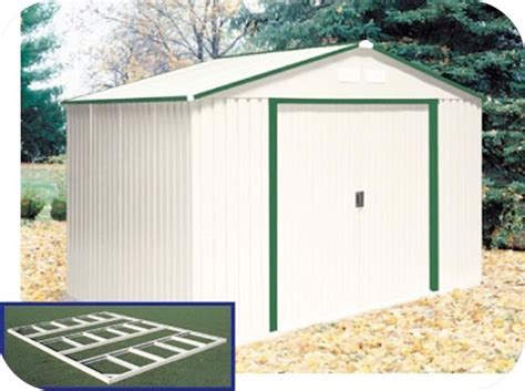 Duramax Sheds For Sale by Duramax 10x8 Delmar Metal Shed W Floor Kit Green Trim 50214