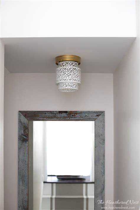 Ceiling Light Shade Diy More Diy Ceiling Light Shades Aka How To Hide Those Ceiling Hooters The Heathered Nest