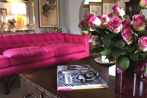hot pink couches hot pink sofa eclectic living room emily henderson