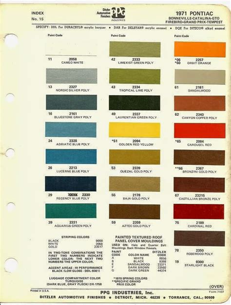phscollectorcarworld 1971 pontiac special order paint codes