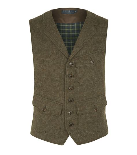 Green Vest polo ralph hillsdale tweed vest in green for brown lyst