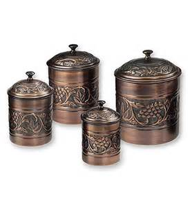 Copper Canisters Kitchen Kitchen Canister Set Antique Copper Set Of 4 In
