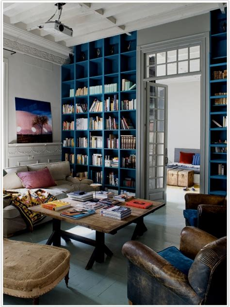 bring it home moody blue bookshelves camille styles