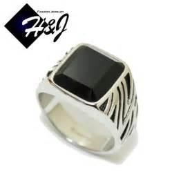mens ring s stainless steel black onyx silver black ring size 7 13 ebay