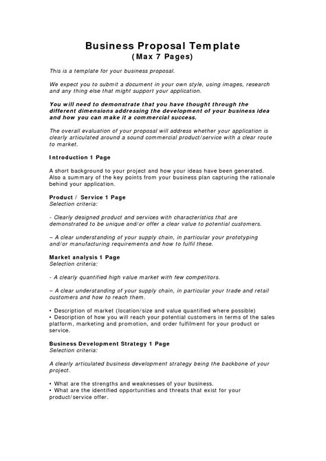 templates for business proposals business templates exles business