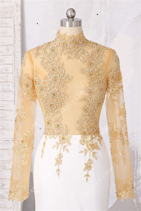 illusion high neck beaded gold lace  white jersey