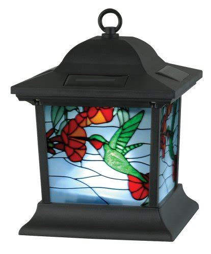 Stained Glass Outdoor Lighting Moonrays 91613 Solar Powered Stained Glass Hummingbird Lighting Fixture Solar Outdoor Lighting