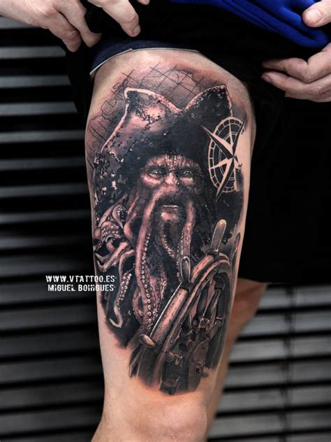 davy jones tattoo black and grey style davy jones on the right