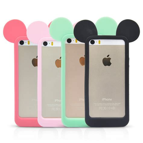 Ear Micky Softcase For Iphone 4 4s 5 5s 5e Samsung Note 3 sale 3d mickey mouse ears silicon frame bumper for iphone 4 4s 5 5s 6 6s soft rubber