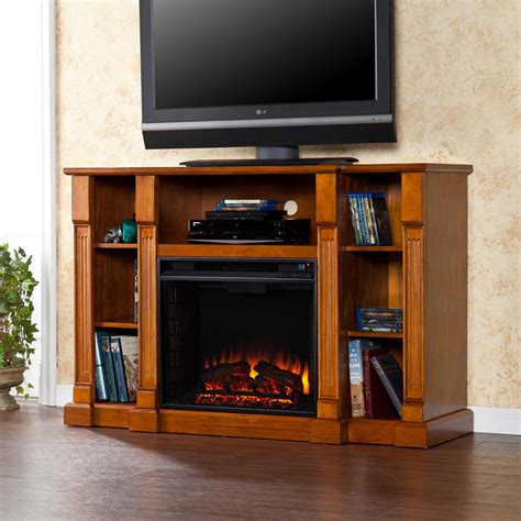 Fireplace Television Consoles by Kendall Electric Fireplace Media Console In Glazed Pine