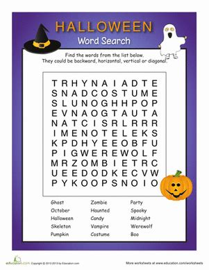 Spooky Search 2nd Grade Worksheets Free Printables Education