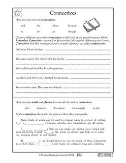 3rd Grade 4th Grade Writing Worksheets Connectives