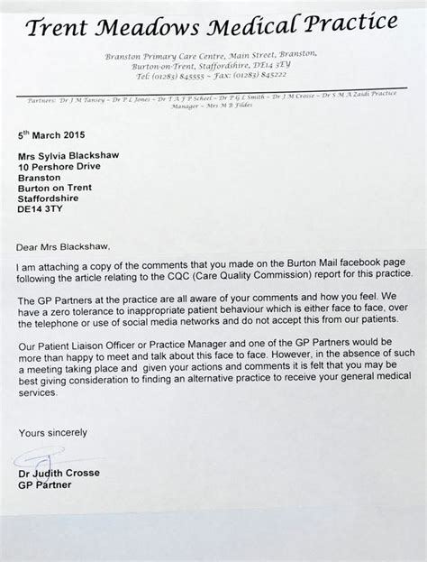 letter template threatening patients who criticised gps surgery sent