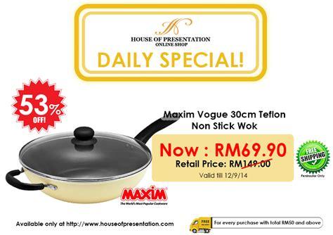 Teflon Maxim 1 Set 53 daily deal maxim vogue 30cm teflon non stick wok valid till 12 september 2014
